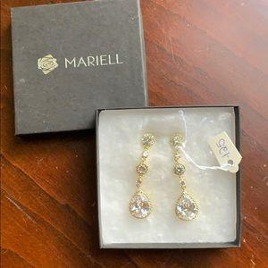 Mariell Dangle Tear Drop Earrings Stud Back NWT